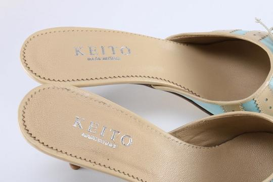 Keito Lace Tie Leather tan and blue Mules Image 5