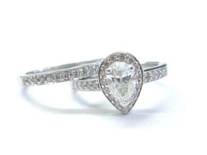 Other 18Kt Pear & Pink Diamond White Gold Engagement Set 1.02Ct NATURAL PINK