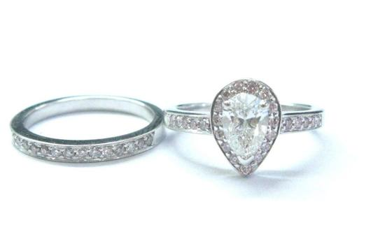Other 18Kt Pear & Pink Diamond White Gold Engagement Set 1.02Ct NATURAL PINK Image 1