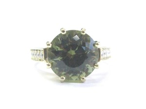 Other 18Kt Gem Green Tourmaline Diamond Solitaire With Accent YG Jewelry Rin
