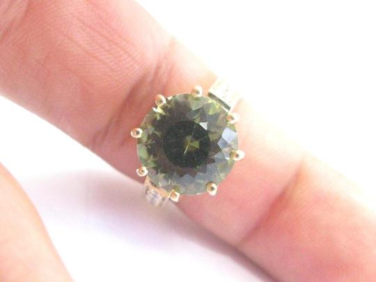 Other 18Kt Gem Green Tourmaline Diamond Solitaire With Accent YG Jewelry Rin Image 4