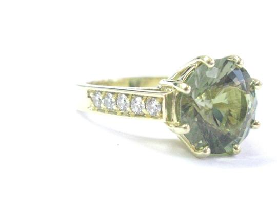 Other 18Kt Gem Green Tourmaline Diamond Solitaire With Accent YG Jewelry Rin Image 5
