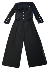 Other Nautical Black Pants Suit with Gold and Crystal Buttons (Size 6)