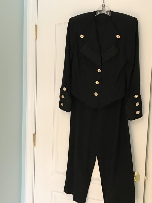 Other Nautical Black Pants Suit with Gold and Crystal Buttons (Size 6) Image 1
