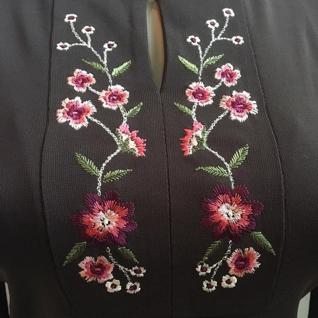 Ann Taylor LOFT Embroidered Peasant Floral Top Brown Image 1