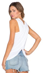 James Perse Criss Cross Open Back Knit Made In The Usa Cut Outs Top white
