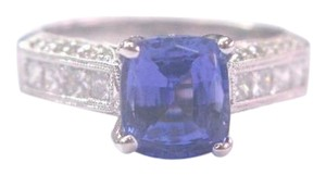 Other 18KT Gem Tanzanite Diamond Solitaire W Accents Jewelry Ring WG 2.97Ct