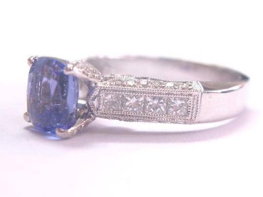 Other 18KT Gem Tanzanite Diamond Solitaire W Accents Jewelry Ring WG 2.97Ct Image 1