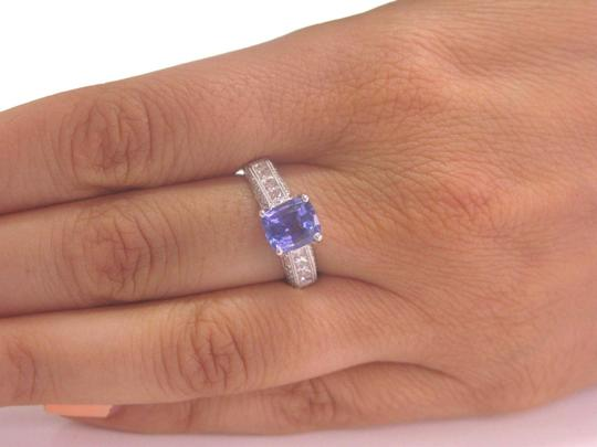 Other 18KT Gem Tanzanite Diamond Solitaire W Accents Jewelry Ring WG 2.97Ct Image 4