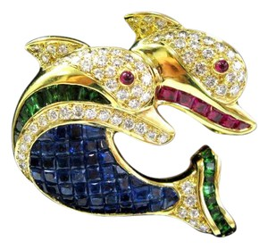 Other 18Kt Sapphire Ruby Tsavorite Diamond Yellow Gold Twin Dolphin Brooch 4