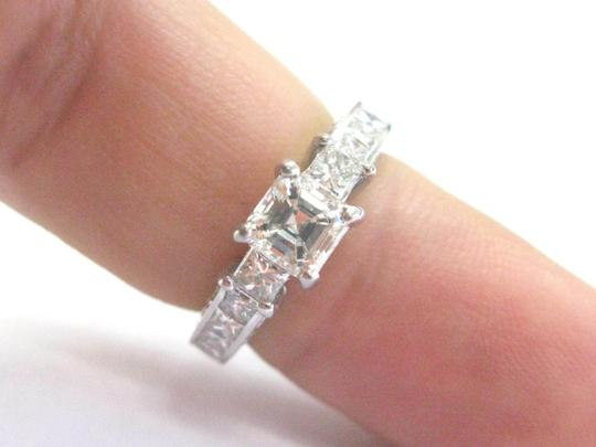 Other Fine Asscher & Princess Cut Diamond 3-Stone Engagement White Gold Ring Image 4