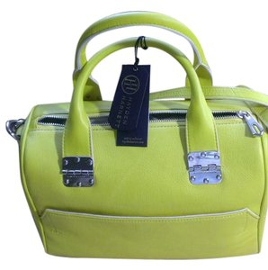 Hayden-Harnett Top Zip Closure Optional Strap Exterior Slip Pocket Interion Zip Pockets Cotton Lining Satchel in yellow