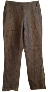 Ann Taylor Sequin Embroidered Silk Straight Pants Brown