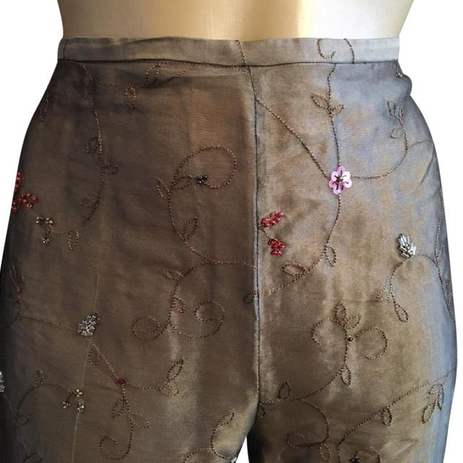 Ann Taylor Sequin Embroidered Silk Straight Pants Brown Image 1