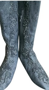 Christian Lacroix Embellished Knee High Size 41 BLACK Boots
