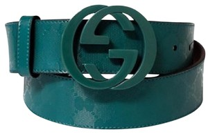 Gucci Gucci Men's Teal Imprime Interlocking G Buckle Belt
