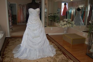 Andy Anand Couture Icy White Satin A7007 Wedding Dress Size 12 (L)
