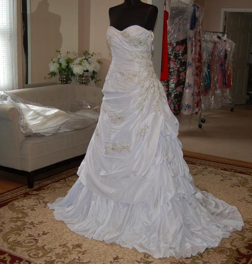 Andy Anand Couture Icy White Satin A7007 Wedding Dress Size 12 (L) Image 1