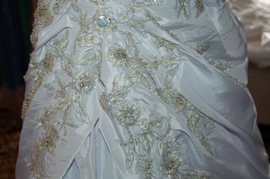 Andy Anand Couture Icy White Satin A7007 Wedding Dress Size 12 (L) Image 10