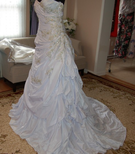 Andy Anand Couture Icy White Satin A7007 Wedding Dress Size 12 (L) Image 2