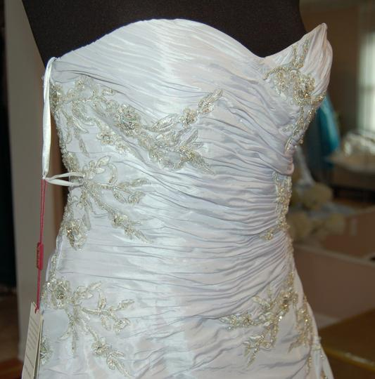Andy Anand Couture Icy White Satin A7007 Wedding Dress Size 12 (L) Image 3
