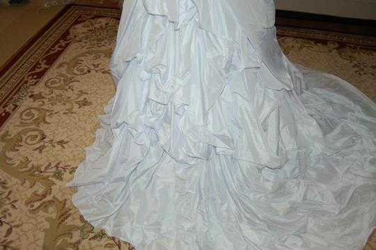 Andy Anand Couture Icy White Satin A7007 Wedding Dress Size 12 (L) Image 4
