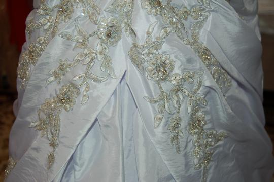 Andy Anand Couture Icy White Satin A7007 Wedding Dress Size 12 (L) Image 5