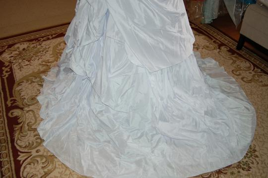 Andy Anand Couture Icy White Satin A7007 Wedding Dress Size 12 (L) Image 6