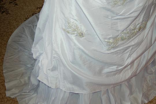 Andy Anand Couture Icy White Satin A7007 Wedding Dress Size 12 (L) Image 7
