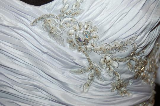 Andy Anand Couture Icy White Satin A7007 Wedding Dress Size 12 (L) Image 9