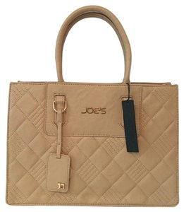 Joe S Jeans Quilted Vegan Leather Gold Hardware Tote In Beige