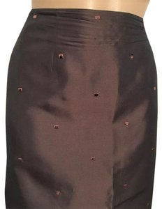 Ann Taylor Sequin Embroidered Skirt Brown