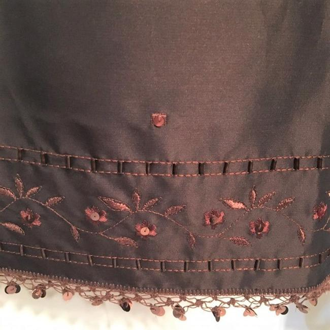 Ann Taylor Sequin Embroidered Skirt Brown Image 4