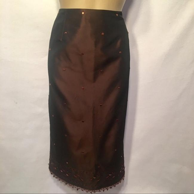 Ann Taylor Sequin Embroidered Skirt Brown Image 5