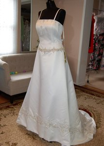 Andy Anand Couture Ivory Satin Elegant A-line Wedding Dress Size 16 (XL, Plus 0x)