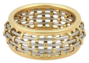 Cartier Cartier 18k Yellow Gold Steel Basket Weave Dome Band Ring Size 54 US 7