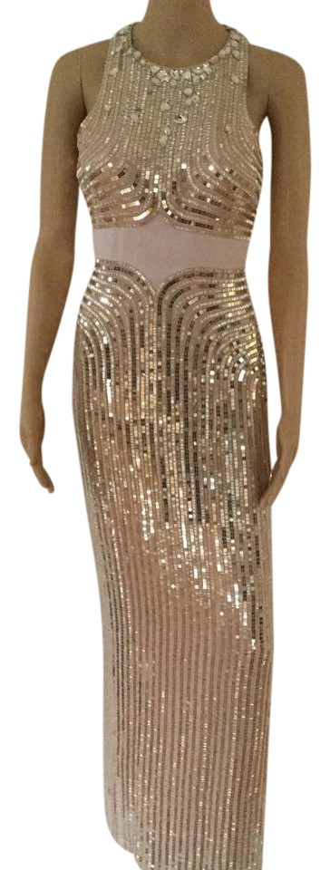 Jenny Packham Blush Sequin Deco Sleeveless Gown Long Formal Dress ...