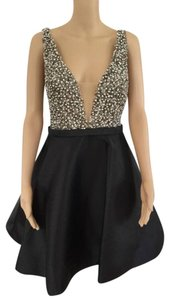 Jovani Embellished Plunging Beaded Sleeveless Flare Hem Dress