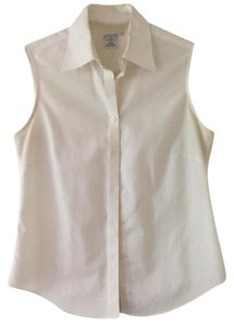 Brooks Brothers Preppy Classic Fitted Sleeveless Summer Button Down Shirt white