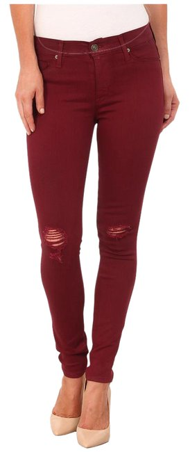 Item - Red Coated Midrise Nico Super (Crimson Wax Destructed) Skinny Jeans Size 25 (2, XS)