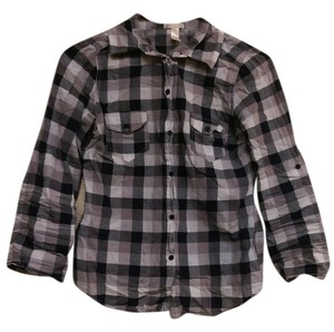 Forever 21 Gingham Plaid Button Down Shirt gray
