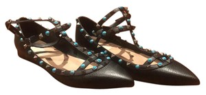 Valentino black with turquoise and silver studs Flats