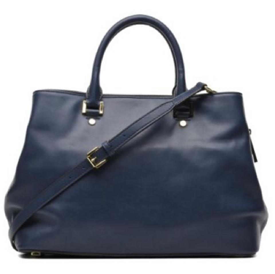 30a67d479abcc Michael Kors Haley Large Style  30f6gils3l Navy Pebbled Leather Satchel