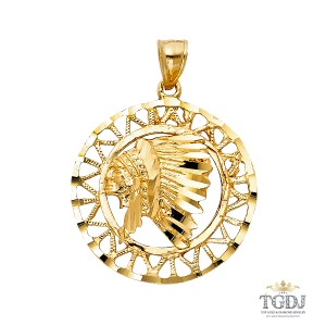 Top Gold & Diamond Jewelry 14K Yellow Gold Indian Pendant, Top Gold & Diamond Jewelry