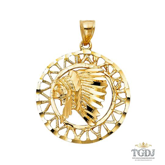 Top Gold & Diamond Jewelry 14K Yellow Gold Indian Pendant, Top Gold & Diamond Jewelry Image 0