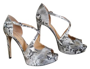 Enzo Angiolini Platform Kitten Stiletto White, Black, Gray Snakeskin Pumps