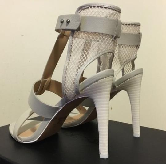 JOE'S Jeans Caged Ankle Heels Ecru Strappy white Sandals Image 3