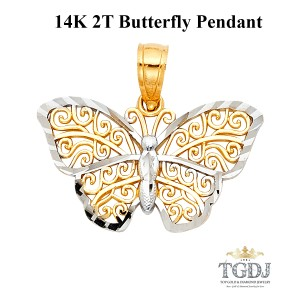 Top Gold & Diamond Jewelry 14K Two Tone Butterfly Pendant, Top Gold & Diamond Jewelry