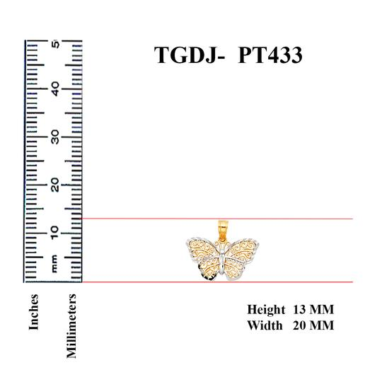 Top Gold & Diamond Jewelry 14K Two Tone Butterfly Pendant, Top Gold & Diamond Jewelry Image 1