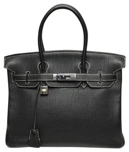 Hermès Birkin 30 Contrast Stitching Togo Leather Satchel in Black